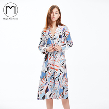 Margin Point Version 2017 New Fashion Women Long Sleeve Sweet Print Shirt Dress Casual Mid-Calf Dresses Vestidos(China)