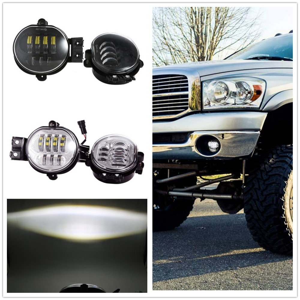 94-01 DODGE RAM TRUCK HALO PROJECTOR BUMPER DRIVING CLEAR FOG LIGHT LAMP+HARNESS