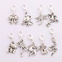 9pcs      9Styles Antique silver Crane Dragon Snake Horse Dragonfly Frog Clasp European Lobster Trigger Clip On Charm Beads CM1