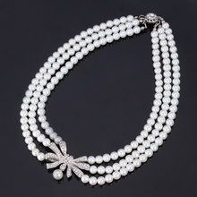 Vintage Elegant Bride Jewelry White/Black Simulated Pearl Bead Rhinestone Choker Necklace Women Brand Accessories N601