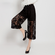 New Fashion 2016 Women Lace Crochet Pants Casual Loose Summer High Waist Wide Leggings Trousers Calf-Length Pants Plus Size C487