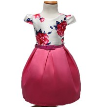 Children's Summer 2016 Baby Kids Flower Printed Elegant Dress Children's Party Baby Girl Princess Dress Clothing For 2-7Y C418