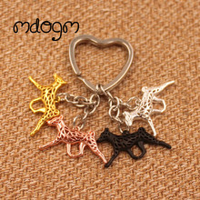 2017 Cute Basenji Dog Animal Gold Silver Plated Metal Pendant Keychain For Bag Car Women Men Girls Boys Love Jewelry K100(China)
