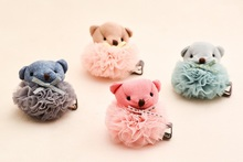 Fashion Cute Bear Hairpins Solid Kawaii Lace Pom Pom Animal Girls Hair Clips Elastic Hair Bands Rubber Bands Pony Tail Holder(China)