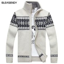 2017 New Christmas Sweater Men Winter Pullover Snowflake Pattern Sweater  Men's Casual Cardigan Thickening Wool Jacket