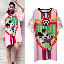 Maxi summer women dresses football game mouse cartoon print streetwear casual dress ruffles flare sleeve dresses tops NS784