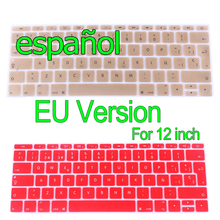 "Spanish For Apple Macbook Keyboard Cover Retina 12"" Rainbow Laptop Keyboard Stickers EU Version Silicone Skin Protector Covers"
