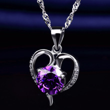 LIAMTING Newest Purple And Crystal CZ 925 Sterling Silver Heart Pendants Necklace Women Jewelry Wholesale Accessories VA057