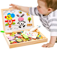 Baby Farm Animal Wooden Magnetic 3D Puzzle Toys Magic Cubes Children Kids Jigsaw Baby Drawing Easel Board Children Education Toy(China)