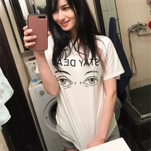 2017 Summer Women's T Shirt Harajuku Graffiti Korean Style Loose Short Sleeve Female T-shirt for Women O-Neck  Basic T Shirt