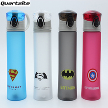New cartoon Plastic Portable Water Bottle Spiderman Superman Batman Captain America For Outdoor Sports Camping BPA Free(China)