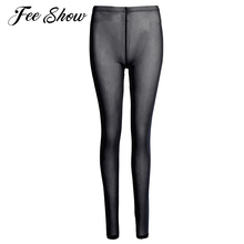 2017 Fashion Hight Quality Sheer Mesh Pants Womens Lingerie Leggings Sexy Women Thickness Pants See-Through Mesh Leggings