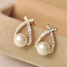 TOMTOSH 2016 New Gold silver Cute Delicate Cross Imitation Pearl Earrings High Quality Fashion Rhinestone Earrings Jewelry