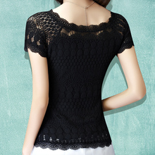 Fashion lace 2016 basic shirt female short-sleeve slim all-match top women O-Neck slim summer shirt pullover