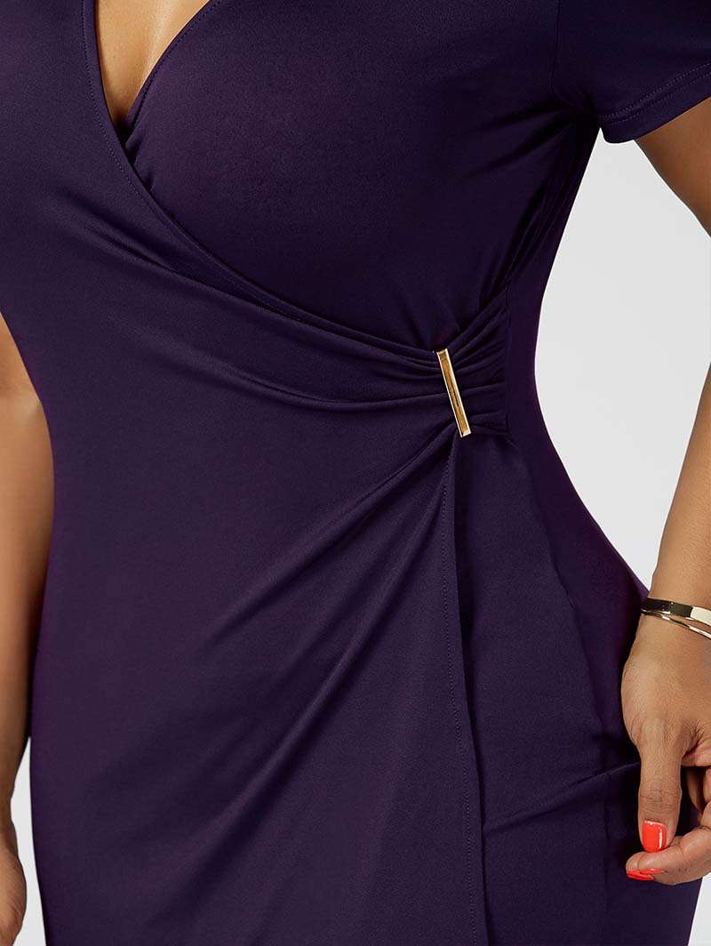 Plus Size 5XL Overlap Tight Surplice Work Wear Dress Women Short Sleeve V Neck Office Midi Dress Ladies Elegant Party Robe Femme