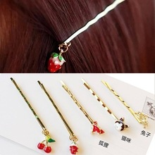 Metal Hairpin with Fox/Cherry/Cat Decorated,Golden hair accessories for Bang.