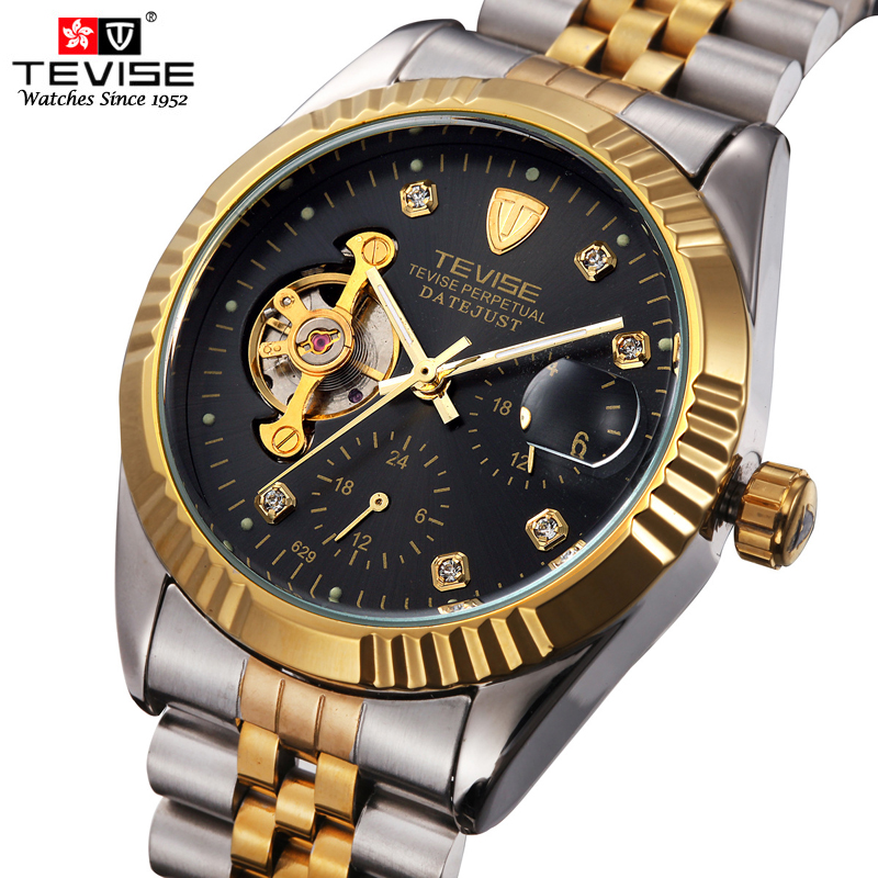 Men Fashion Brand TEVISE Mens Top Quality Mechanical Watch Roman Numbers Mens Bussiness Stainless Steel Band Watch Waterproof<br><br>Aliexpress