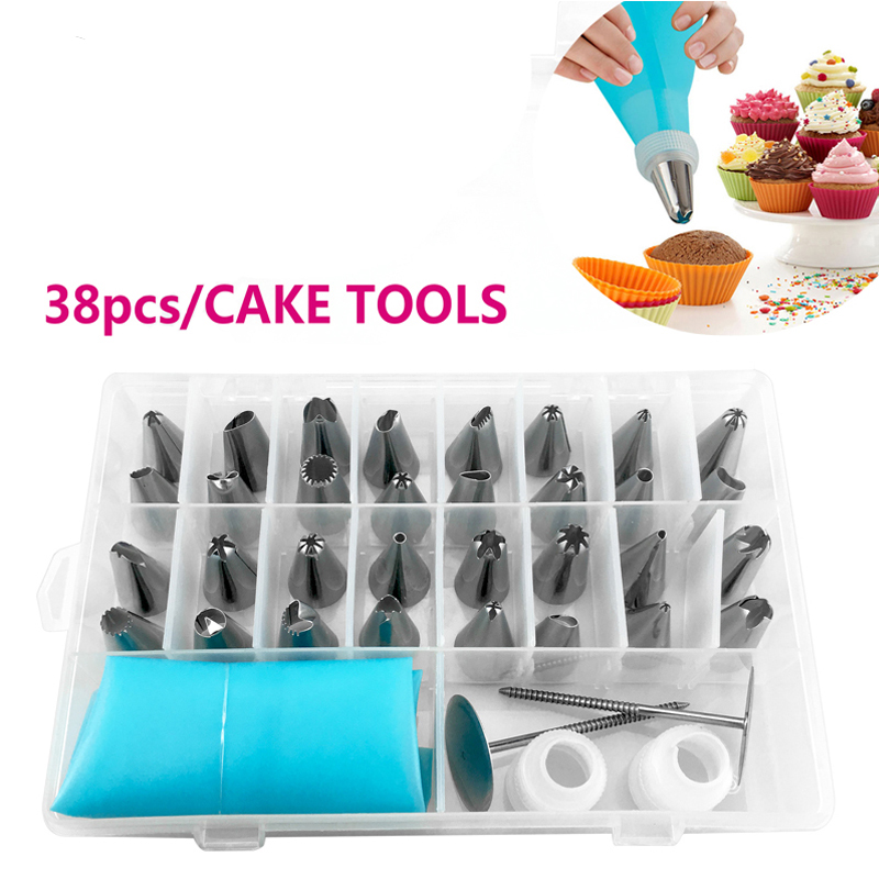 FHEAL 38pcsset Russian Piping Pastry Bag Stainless Steel Nozzle Set Icing Piping Tubes Backware Cake Dessert Decorators -11