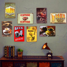 Shabby chic Vintage Metal Tin Signs Cocktail Beer Coffee Cafe Beer Bar Restaurant Coffee Cafe Shop Home Wall Sticker Decoration