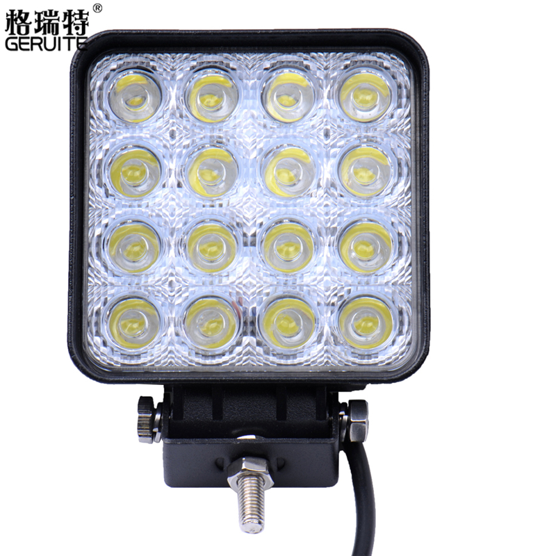 GERUITE 10pcs 48W 16*3W Waterproof LED Work Light Offroad Boat Car Vehicle Driving Boat For SUV Motorcycle 4800lm 12V 24V<br><br>Aliexpress