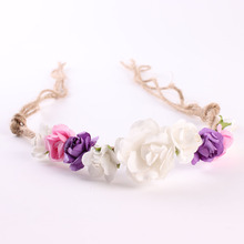Fashion Cute Beautiful Multi Colors Flower Headbands With Hemp Rope Handmade Hairband For Kids Girls DIY Crafts Hair Accessories