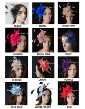 Wholesale NEW 12 colours.Small Combs Sinamay Fascinator with Feathers for wedding,kentucky derby,party.FREE SHIPPING(China)