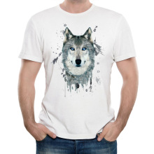 Animal Wolf Fancy Cool 3D Print T-shirts Cotton Modal Women Men White Tee Gifts for Him Her Regular Slim Fit for ladies