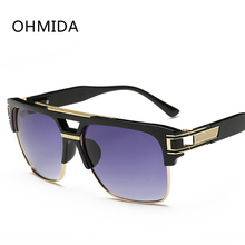 OHMIDA Black Aviator Sunglasses Men Women Mirror Pilot Men's Sun Glasses Retro Famous Brand New Fashion Lunettes de Soleil femme