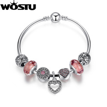 Aliexpress Hot Silver Pink Heart Charm Bangle For Women Fashion DIY Beads Fit Original Bracelet Jewelry Lover's Gift XCH3805(China)