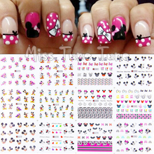 1pcs 12 Sheets/Lot Large Nail Art Water Transfer Water Decal Stickers Tips Mickey Minnie Head Pink Cute Cartoon Nail Sticker