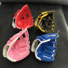 2017 hot sale red pink blue colour children adult left hand high quality PVC baseball glove non-slip super soft wear-resisting(China)