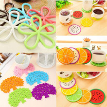 Wholesale Silicone Coffee Placemat Button Coaster Cup Mug Glass Beverage Holder Table Mats Cup Mat Home Dining Room Decor(China)