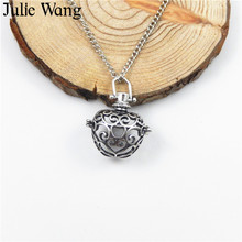 Julie Wang 1pcs Alloy Essential Oil Diffuser Apple Locket Charms Pendants For Perfume Necklace Bracelet DIY Jewelry Making(China)
