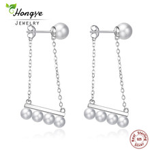 Hongye 2017 Hot Selling 925 sterling silver jewelry  Big size 100% real freshwater pearl earrings for women Top quality gift box