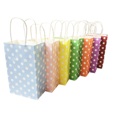 1 Pcs/lot Multifuntion Dot Paper Bags With Handle Gift Party Holiday Recyclable Shopping Package Bags 13*22*8cm(China)