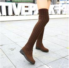 2016 Fashion Knitted Women Knee High Boots Elastic Slim Autumn Winter Warm Long Thigh High Boots Woman Shoes Size 40(China)