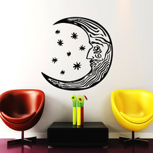 Crescent Moon Wall Decal Ethnic Style Living Room Vinyl Special Face Design Wall Stickers Removable Art Mural Symbol DecorSYY298