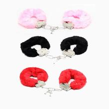 1Pcs/set Hand Cuffs Women Sexy Adult Game Night Party Game Gift Furry Soft Metal Fuzzy Handcuffs Soft Game Gife Toys(China)
