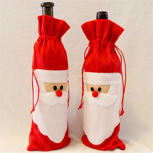 12 Pieces Red Wine Bottle Cover Bags Christmas Dinner Table Decoration Home Party Decors Santa Claus(China)