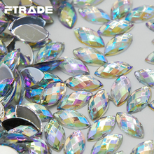 300pcs High Quality 5x10mm Crystal Clear AB More Shiny Acrylic Horse Eyes Shape Flatback DIY Rhinestones Free shipping(China)