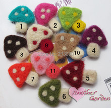 Fashion Clothing accessories Cute natural wool felt mushroom design accessory for children hair barrettes jewelry  30pcs/lot