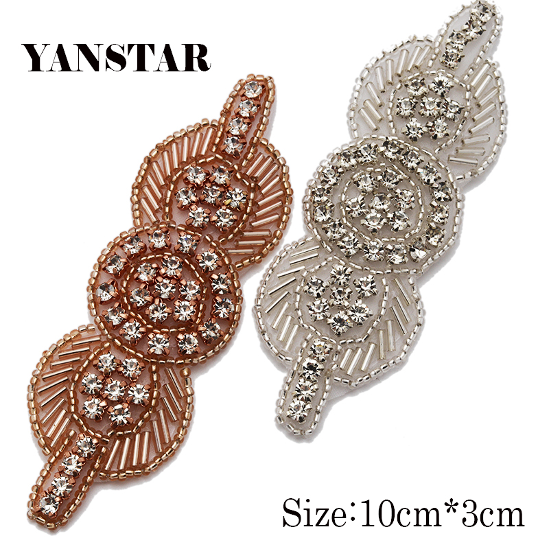 YANSTAR 50pcs Wholesale Rose Gold Sparkle crystal Wedding Dress Sash Rhinestones  Appliques Accessory For Bridal Gown 8e00a327ac45