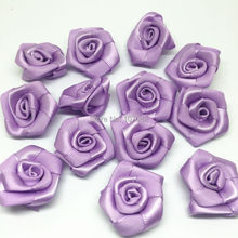 100pcs Lilac 25mm Ribbon Roses Flowers Decorative Flower Wedding Bouquet Decorations Embellishments Scrapbooking(China)