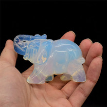 3 inch Natural Opalite Elephant Statue Carved Crystal Elephant Figurine Mini Animal Figurines for Home Decor Chakra Healing Gifs