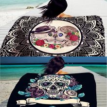Rectangle Beach Towel Skull Rose Printed Pattern Bikini Shawl Girls Bath Towel Summer Outdoor Sun Block Yoga Cushion PC985617