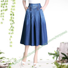 2017 Plus Size XXXXL Spring and Summer Casual Fashion Denim Pleated medium Long Maxi Skirt Womems / Plissee Jeans Midi Skirt(China)