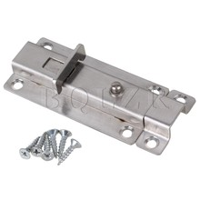 BQLZR 4-inch Stainless Steel Silver Spring Loaded Automatic Door Security Latch Lock