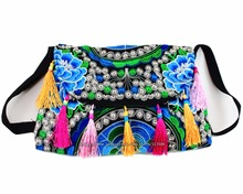 Hmong Tribal Ethnic Thai Indian Boho shoulder bag messenger embroidery pom charm trim SYS-370C