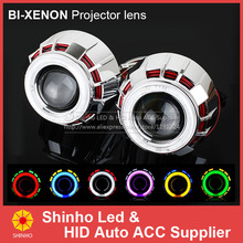 2PCS/Lot 2.8Inch  HID Projector Lens CCFL Bi Xenon Light Double Angel Eyes Projector Lens H1 H4 H7 Headlight Conversion Kit