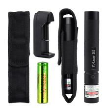Green Laser 301 5mw Laser Pointer Pen Torch Powerful Light Burning Laser Adjustable Focus 5000MAH 18650 Battery + Charger